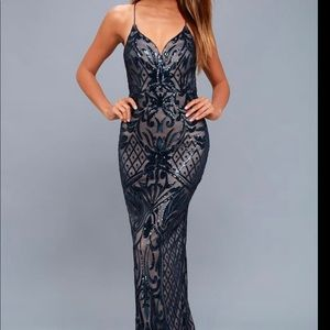 Ruby Navy Blue Sequin Lace up maxi dress